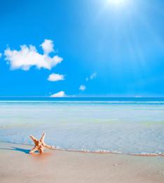 Descuento fondos de verano Fondo de la boda de playa Estudio de la foto Apoyos Estrella de mar Cielo azul Nubes blancas Olas del mar Fotografía de vacaciones de verano Backdrops 5x7ft