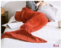 Размеры одеяло для продажи-3 Размер Для взрослых Ребенок младенца хвост русалки Одеяло пряжи Трикотажное ручной работы крючком Mermaid Одеяло Throw кровать Wrap Диван Одеяло Рождественский подарок