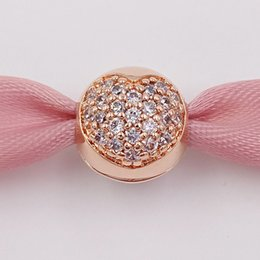 Wholesale Valentines Day authentic Silver Beads Rose Gold Plated Clear Pave Heart Clip Fits European Pandora Style Jewelry Bracelets CZ