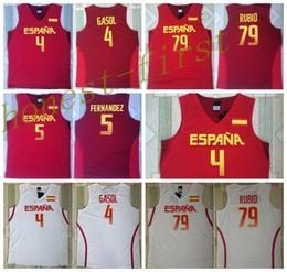 Wholesale 2016 RIO Spain Team Jersey Fernandez Pau Gasol Spain Shirts Uniform Ricky Rubio Fashion Rev New Material Home Color Red White
