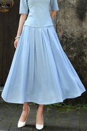 2017 new women's clothing pure cotton art wind half length dress, retro solid color, prom dress