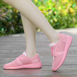Casual woman shoes Sports shoes Running shoes 2017 Summer new Big hole Mesh surface Breathable Non-slip Damping Lace Pink white Black