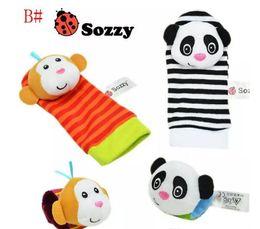 Chaussettes lamaze hochet à vendre-2017 100SET Lamaze Style Sozzy Hochet de poignet Ensemble de jouets Zebra Sac à main et chaussettes jouets Jouets éducatifs pour bébés (1set = 2 poches poignet + 2 pcs chaussettes)