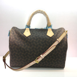 Wholesale Old cobbler Classic style Boston bag best selling Women handbag top qualiy Coated canvas real Leather straps Fashion tote Inclined shoulder