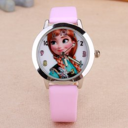 Cartoon Beautiful girl ANNA Color number style dial children students girl's leather quartz wrist watch
