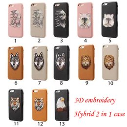 3D Embroidery Case Shockproof 2 in 1 Dual Layer Hybrid Rugged TPU PC Cover Cases For Samsung S8 s8plus iPhone 6 7 Plus