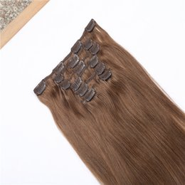 Acheter en ligne Les brown-Thick Full Head 10pcs / set 22clips 8A Grade Clip In Hair Hair Extensions Medium Brown Meilleur prix Brazilian Remy Hair Hot Selling