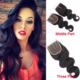 Brazilian Virgin Hair Human Weave Closures Body Wave Straight Natural Black Color 4x4 Lace Closures Three Middle Free Part 6-22 Inches