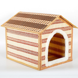 Wholesale 2016 New Product Pets Articles Summer Bamboo Weaving Pets Nest Bamboo Weaving Kennel The Cat Cage House Villa Gogo Small Nest