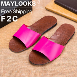 2017 Genuine Leather Ladies Summer Slippers Candy Color Home Slippers Women Indoor Flat Slippers Basic Sandals Flip Flops
