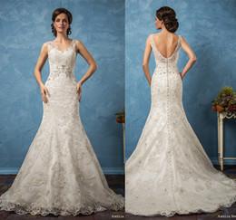 mermaid wedding dresses 2017 amelia sposa bridal gowns thick lace sleeveless thick strap v neck elegant chapel train wedding gowns