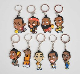 Wholesale 2 Inches Hot Basketball Stars Cartoon Charactors Keychains Key Chain Keyrings Gifts James Harden Kobe Wade Curry Paul Durant McGrady