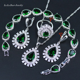 New Style 925 Silver Color Green Created Emerald Jewelry Sets For Women Earrings Pendant Necklace Rings Bracelet