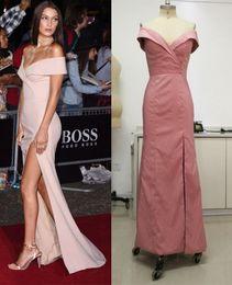 Wholesale Real photos prom dresses long Bella Hadid Elegant Off shoulder Champagne Matte Satin Party Dress GQ