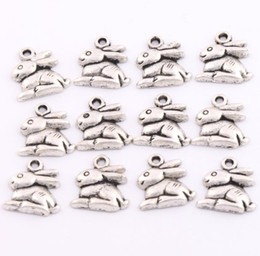 Wholesale 2017 Fashion Jewelry x14 mm Antique Silver Bunny Rabbit Easter Charms Pendants Jewelry DIY L498