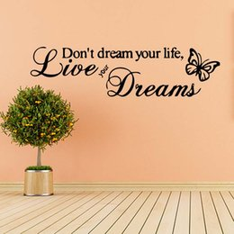 For Live Your Dreams Butterfly Love Quote Funny Wall Stickers Bedroom Sitting Room Removable Decals Diy