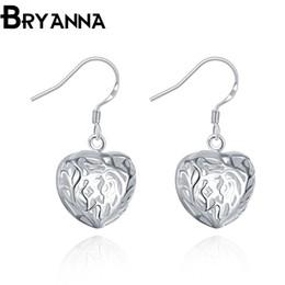 Bryanna 925 sterling silver dangling earrings for women Fashion Jewelry Wholesale Wedding Gifts long drop Heart earrings E2075