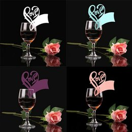 Wholesale x Paper Laser Cut Love Heart Table Name Place Escort Cup Card Wine Glass Cards Wedding Baby Shower Party Decorations