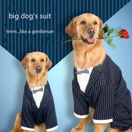 Большие костюмы для собак Онлайн-Большой Husky Костюм Big Dog Полосатый Галстук Костюм Золотистый ретривер техники дышащие самоеды Одежда для питомцев