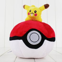 Canada 25cm 2Pcs / Lot Pikachu PokeBall Plush Toy Soft Stuff Poke Ball Game Plush Kids XMAS Gift Livraison gratuite Offre