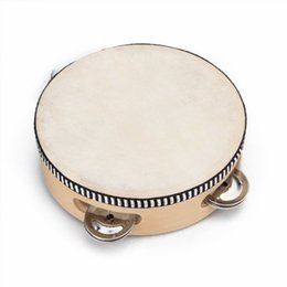 Wholesale Children s toy tambourine with wood with quot Leather