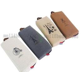 Bolsas de bolsillos en Línea-NUEVA caja de lápiz de París caja de la pluma del lápiz de la lona del lápiz Caja del organizador del bolsillo de la caja de lápiz del maquillaje del cosmético del maquillaje con la cremallera MYY