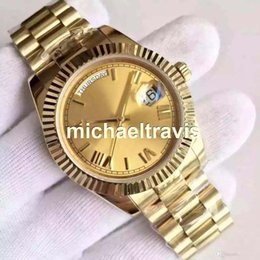 Wholesale 18 ct yellow gold DAYDATE self winding mechanical movement Champagne dial Fluted bezel Concealed folding Crown clasp Mens watch