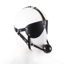 Harness Sex Bondage Mouth Gag BDSM Black Ball Bite Gags with Blindfold for Adult Play Games