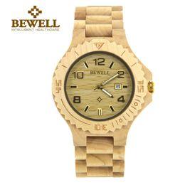 Wholesale BEWELL Wood Watch Top Luxury Brand Men Quartz watch Maple Wooden Analog Wristwatch Auto Date Waterproof Watch B
