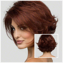 100% New High Quality Fashion Picture full lace wigs Women Fashion Short Wavy Heat Resistant Hair Cosplay Wig Wigs Brown Wig Full Wig