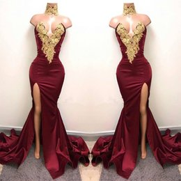 Wholesale Sexy Burgundy Mermaid High Split Prom Dresses Gold Lace Appliques High Neck Prom Dress African Party Gowns BA5998