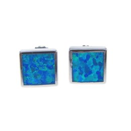 Fashion jewelry stud Earrings Square blue Opal Copper rhodium plating Social gatherings elegant gifts SQ 8.0mm Free Shipping
