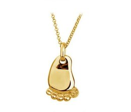 Wholesale cute baby foot feet mum son daughter birth birthday gift k Gold Plated Pendant Necklace Fashion jewelry quality
