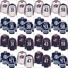 Wholesale Columbus Blue Jackets Jersey Anton Forsberg Dalton Prout David Savard Boone Jenner Scott Hartnell Hockey Jerseys stitch