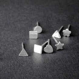Wire drawing, pentagram, triangle, plum cross, square geometry, earring, FS123