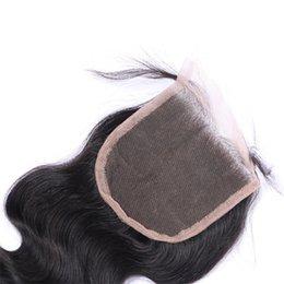 2pcs cheap 100% Brazilian Hair Lace Closure 8-20inch Malaysian Peruvian Indian Mongolian Human Hair Natural Color Body Wave Top Closure