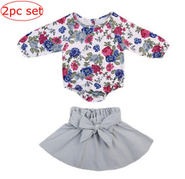 Ins spring Baby girls Floral Jumpsuit Balloon sleeve rompers + infant Petal Bow skirt 2pcs set Top Romper Baby girls clothes set