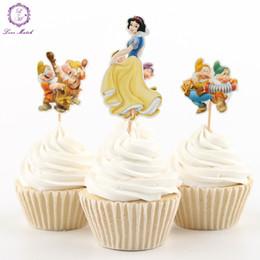 2017 magdalena de bienvenida al bebé de la princesa El partido al por mayor-NUEVO 24pcs suministra la decoración blanca de la torta de la decoración de las selecciones de los cupcakes de la magdalena de la princesa que suministra la fiesta de bienvenida al bebé presupuesto magdalena de bienvenida al bebé de la princesa