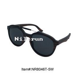 Nilerun brand metal wood double bridge ebony wood full frame sunglasses