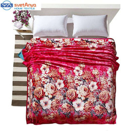 Wholesale Coral Fleece Bedspread - red Rose print Blanket soft bedding Throws Cloud mink cashmere bedspreads twin full queen king size