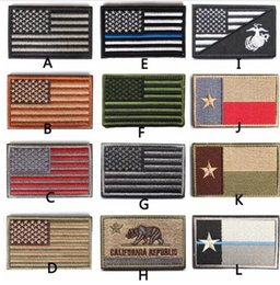 Wholesale Tactical American USA Thin blue line law enforcement Texas Lonely Star Marine Corps Usmc Black Ops Flag Embroidered Patch