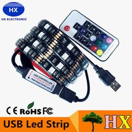 Wholesale 5V USB LED strip RGB LED Strip Light Laptop Computer TV Background Flexible Lighting With Mini RGB Controller Remote controller