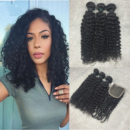 8A Brazilian Curly Virgin Hair 4 Bundles With Lace Closure Free Part Brazilian Kinky Curly Wholesale Wet And Wavy Real Human Hair Weaves
