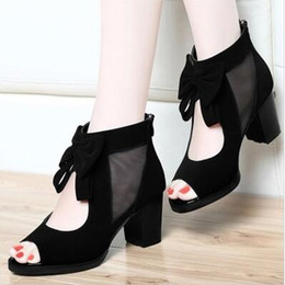 Summer ms black fashion fish mouth new gauze bowknot is thick with cool joker high-heeled shoes