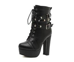 .Newest Rivets Bottes de moto en cuir noir pour les femmes Haute plate-forme de chaussures épaisses talon bottes élégantes chaussures Cool nvx13 à partir de longue en cuir femmes boot fabricateur