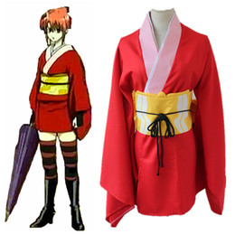 gintama kagura cosplay costumes Red kimono Japanese anime clothing Masquerade Mardi Gras Carnival costumes supply from stock