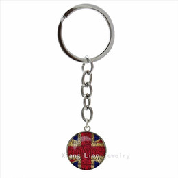 Wholesale Trendy round men jewelry keychain British Flag Old London Flag art picture pendant ring jewelry key chain gift for men NS433