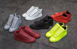 Wholesale High Quality genuine leather man sneakers sports bal enci ga High top men s Casual Shoes With Shoes Box size
