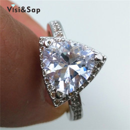 Visisap cubic zircon ring Triangle Stone engagement Rings For women Wedding rings fashion jewelry White gold color VSR106