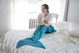 Размеры одеяло Онлайн-Дети размер хвост русалки одеяло шерсть вязаный хвост рыбы одеяло бросить постели Wrap супер мягкий спальный мешок 70x140cm